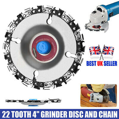 4'' Angle Grinder Disc 22 Tooth Chain Saw Blade For Wood Carving Cutting Tool UK • 3£