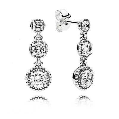 AUTHENTIC-GENUINE PANDORA Eternal Elegance Drop Earrings 290742CZ • 19.99£