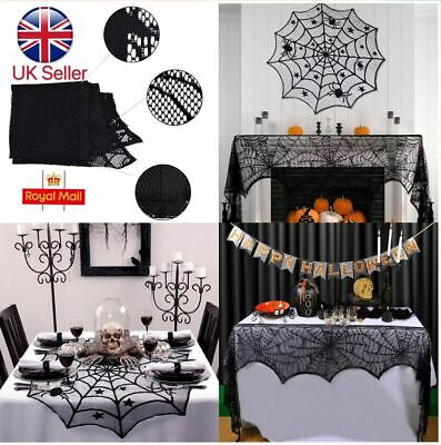 £3.98 • Buy Fireplace Window Door Party Decorations Halloween Lace Web Table Cloth Curtain