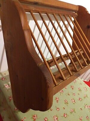Antique Wooden Vintage Pine Wall Plate / Cup Rack With Old Penny • 60£