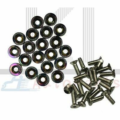 $10.88 • Buy NEW 20 PCS NEO CHROME Aluminium Fender Washers/Bolt ENGINE BAY Dress-Up Kit
