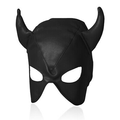 Devil PU Faux Leather Face Mask Horn Masquerade Halloween Costume Party • 5.99£