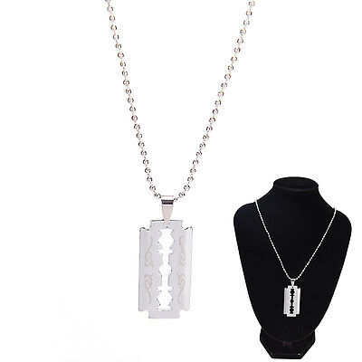Men Favorite Stainless Steel Razor Blade Pendant Fashion Ball Chain Necklace~W7 • 3.35£