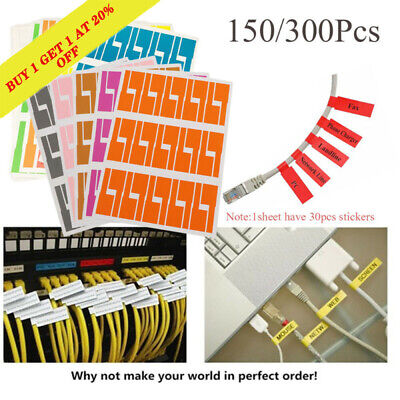 Waterproof Wire Fiber Organizers Stickers Identification Tags Cable Labels • 3.94£