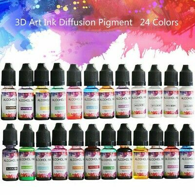24Color Alcohol Ink Diffusion Resin Pigment Kit Liquid DIY 10ML Colorant Dye Art • 13.68£