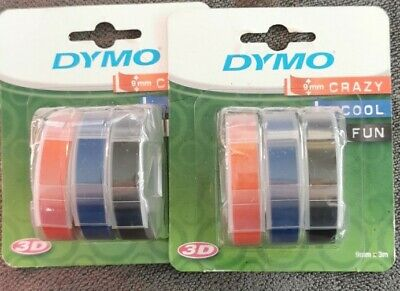 Dymo S0847750 9mm X 3m Embossing Tape - 2 Pack Red Black Blue • 1.90£