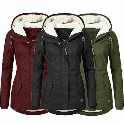 Womens Fur Lined Parka Jacket Coat Ladies Hooded Outwear Winter Warm Overcoat UK • 28.88£