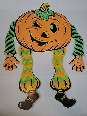 $ CDN25.91 • Buy VTG Halloween Cardboard Die Cut Jointed Pumpkin Man Jack O'Lantern Taiwan 28