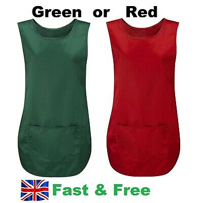 Ladies Tabard Apron Front Pocket Hotel Cleaning Care Work Workwear Kitchen NEW • 6.50£