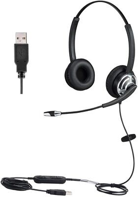 USB Headset With Noise Cancelling Microphone Dual Ear Skype Headset With Speech • 53.74£