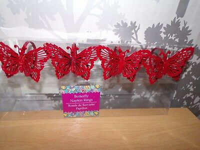New In Box Metal Butterfly Napkin Rings, 4 Red  • 9.99£