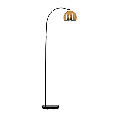 Modern Designer Style Black Curved Stem Floor Lamp With A Brushed Copper Arco - • 48.19£