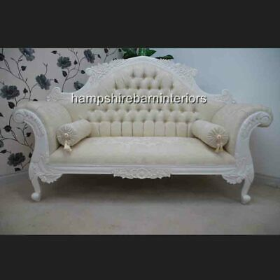Charles Louis Cuddler Ornate Double End Chaise Sofa Ivory Cream Damask Fabric • 899£