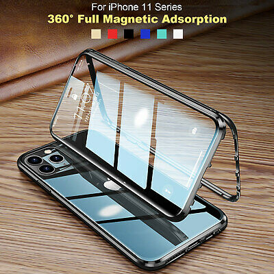 AU14.99 • Buy For IPhone 12 Pro Max 11 XS 8 7 360° Full Case Magnetic Metal Double Glass Cover