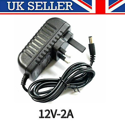 12v 2a Ac Dc Adaptor Uk Power Supply Adapter Mains Led Strip Transformer Charger • 6.95£