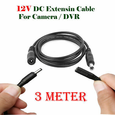 Power Supply Extension Cable DC 3M  12V For CCTV Camera/DVR/PSU- LED Strips Lead • 2.75£