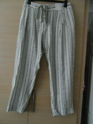 Bnwt Per Una M&s Ivory Striped Linen Rich Trousers - Size 24 Short - With Belt • 7.99£