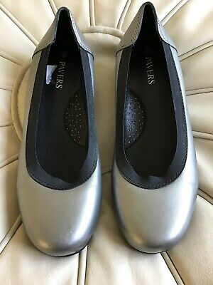 New Leather Pewter And Black Pavers Shoes Size 5 • 4.99£