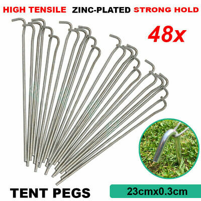 AU30.98 • Buy 48Pcs Tent Pegs Hi-Tensile Galv Steel Aussie Heavy Duty Stakes Camp Nail Stakes