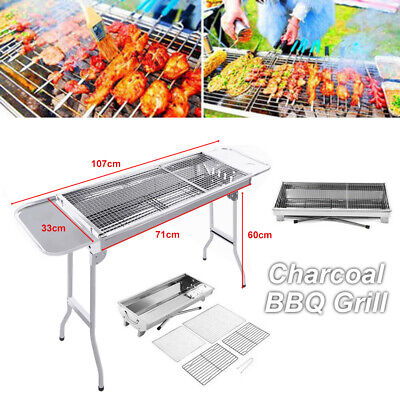 AU49.95 • Buy Portable & Foldable Charcoal BBQ Grills Stainless Steel Outdoor Camping