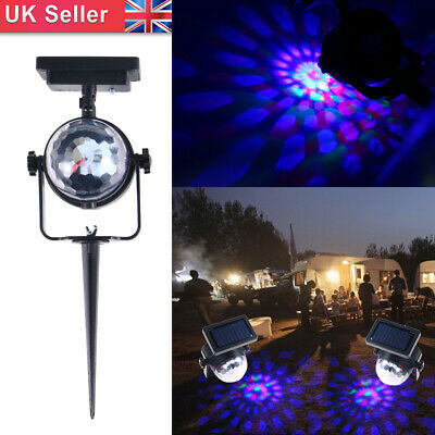 Solar Projection LED Carnival Spotlight Colour Changing Stake Light Outdoor • 8.58£