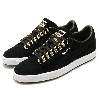 AU103 • Buy Puma Suede Classic X Chain Black Gold White Men Casual Shoes Sneakers 367391-03