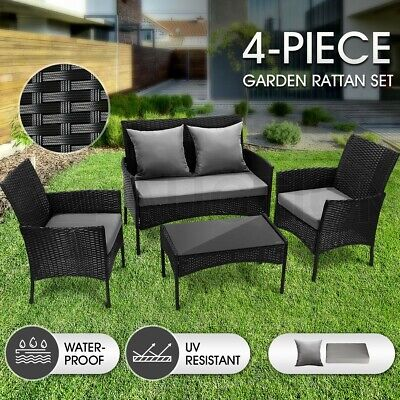 AU299.95 • Buy Outdoor Furniture Sofa Lounge Setting Garden Patio Rattan Chairs Table Set 4 PCS