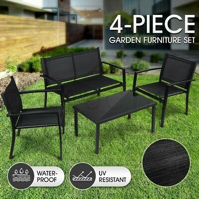 AU199.95 • Buy Garden Furniture Outdoor Chairs Table Set 4 PCS Patio Textilene Fabric Setting
