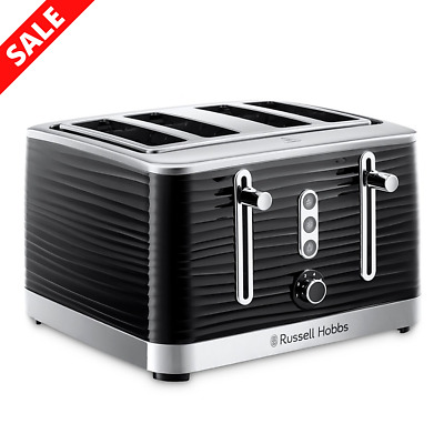 AU119 • Buy Russell Hobbs Inspire 4 Slice Toaster Black Removable Crumb Tray RHT114BLK
