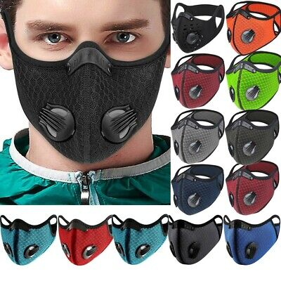 Face Mask Reusable Washable Anti Pollution PM2.5 With Two Air Vent Valve Filter • 4.99£
