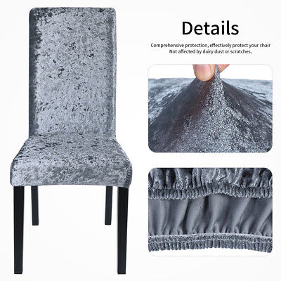 Universal Crushed Velvet Dining Chair Covers Protective Slipcover Home Decor UK • 4.99£