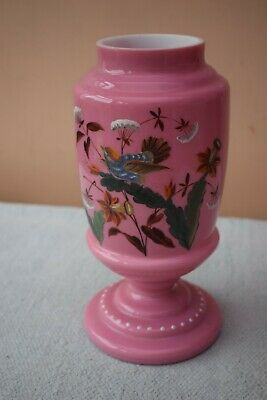Large Pink & White Cased Opaque Glass Mantle Vase - Hand Painted Bird & Flowers • 10£