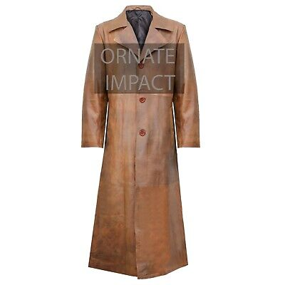 Mens Pure Brown Leather Trench Steampunk Gothic Matrix Terminator Coat Jacket • 139.95£