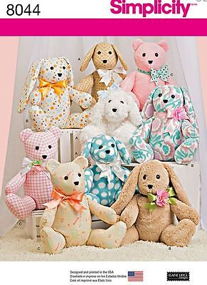 £9.23 • Buy Simplicity SEWING PATTERN 8044 Toy Animals-Dog,Rabbit,Bear,2 Pattern Pieces