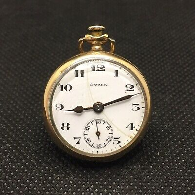 Vintage Cyma Pocket Watch Tavannes Engraved Wadsworth Case 15 Jewels Swiss • 51.56£