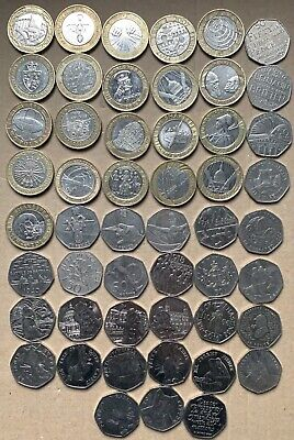 £2 Coins + 50p Coins - Two Pound Coin Job Lot Bundle 2 Pounds All Different Rare • 66£