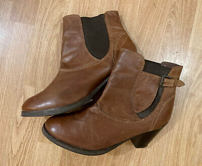 Red Herring Tan Brown Leather Ablett Mid Heel Chelsea Ankle Boots Sz 8 RRP £65 • 13£