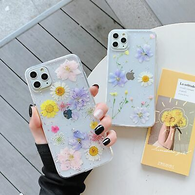 Real Dried Floral Soft TPU Phone Case Cover For IPhone 12 11 Pro 6 7 8 + XR XS • 1.99£