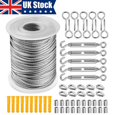 57PCS/Set 30M 2mm Stainless Steel Wire Rope Cable Hooks Hanging Kit UK • 17.95£