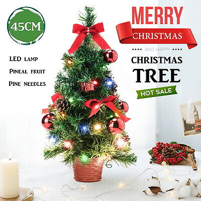 45CM Artificial Desk Table Top Mini Christmas Tree With LED Lights Ornament Xmas • 6.87£