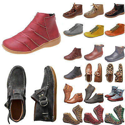 Womens Arch Support Ankle Boots Ladies Winter Autumn Flat Causal Booties Shoes • 16.99£