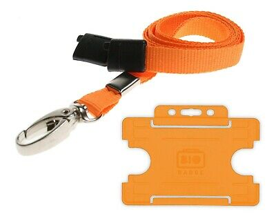 Orange Lanyard ID Card Holder Neck Strap With Breakaway And Metal Clip Free P&P • 0.99£