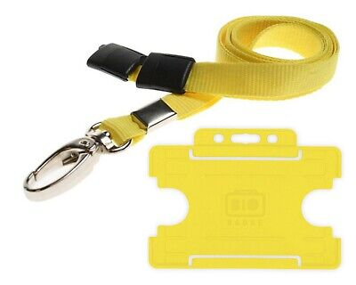 Yellow Lanyard ID Card Holder Neck Strap With Breakaway And Metal Clip Free P&P • 2.99£