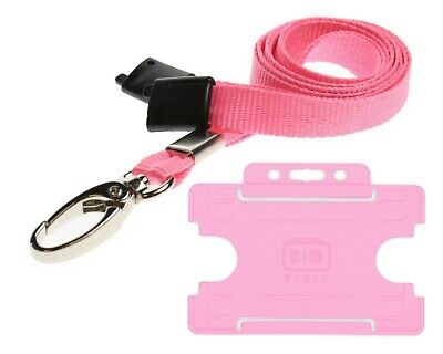 Pink Lanyard ID Card Holder Neck Strap With Breakaway And Metal Clip Free P&P • 2.09£