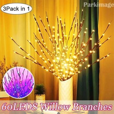 LED Branch Twig Lights Light Up Willow Branches USB Plug-in Christmas Decor UK • 10.59£
