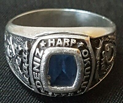 Solid Genuine 925 Sterling Silver Gents College Ring Blue Stone  • 0.99£