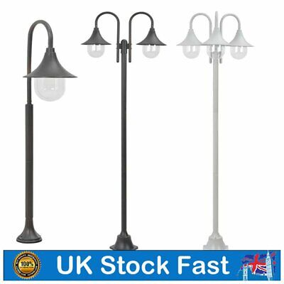 Garden Post Light E27 Aluminium 1/2/3-Lantern Outdoor Street Lamp Pathway Lights • 72.49£