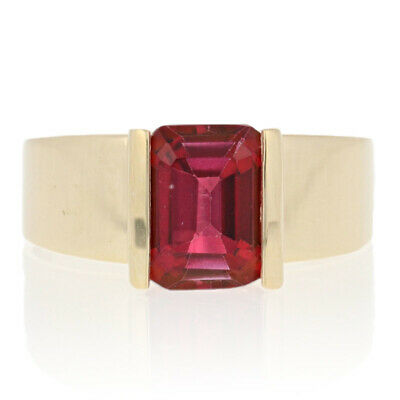 Yellow Gold Red Topaz Ring - 10k Rectangle Cut 2.40ct Solitaire • 121.79£