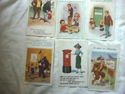 6 X ANTIQUE POSTCARDS. BY DONALD McGILL. INTER-ART-Co, ASHER, COMIC, X.L.SERIES. • 17.99£