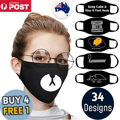 AU7.95 • Buy Funny Face Mask Cosplay Cute Christmas Anime Washable Reusable Cotton Unisex